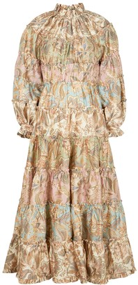 Zimmermann Ladybeetle printed ruffle-trimmed midi dress