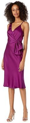 Milly Honey Stretch Silk Bow Dress (Blackberry) Women's Clothing