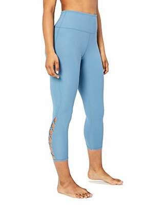 """Core 10 Women's Lattice 7/8 Yoga Crop 24"""" Leggings, Blue (), Medium"""