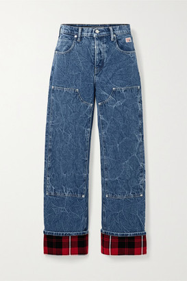 Alexander Wang Flannel-paneled High-rise Straight-leg Jeans - Mid denim