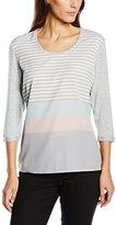 Gerry Weber Women's Front Jersey Striped 3/4 Sleeve T-Shirt