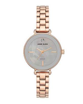 Anne Klein Women's Genuine Diamond Dial -Tone Bracelet Watch