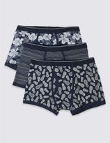 Marks and Spencer 3 Pack Cotton Rich Stretch Assorted Trunks