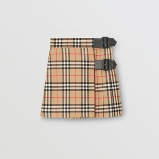 Burberry Childrens Lambskin Detail Vintage Check Wool Kilt