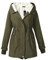fereshte Women's Warm Cotton-padded Coat Winter Hood Parka Plus Size Overcoat Long Jacket