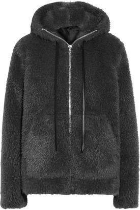 Helmut Lang Leather-trimmed Faux Shearling Hooded Jacket