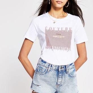 River Island Womens White 'Couture' print t-shirt