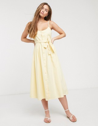 ASOS DESIGN soft denim midi dress in yellow