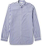 Camoshita Slim-Fit Grandad-Collar Striped Cotton-Poplin Shirt