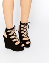 Aldo Jennelle Black Ghillie Wedge Sandals