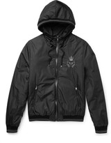 Dolce & Gabbana - Leather-trimmed Embroidered Shell Hooded Jacket