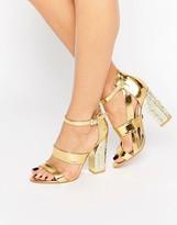 Daisy Street Gold Plate Heeled Sandals
