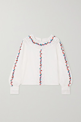 Rixo Rachel Cropped Lace-paneled Embroidered Cotton-blend Blouse