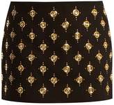 Balmain Embellished velvet mini skirt