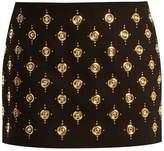 Balmain Embellished velvet mini skirt