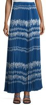 Self-Portrait Pleated Flower Spell Maxi Skirt, Cobalt Blue/Cream