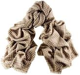 Black Cream and Biscuit Houndstooth Cashmere Ring Shawl
