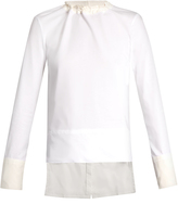 Marni Long-sleeved cotton-poplin and jersey top