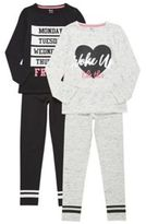 F&F 2 Pack of Slogan Pyjamas, Girl's