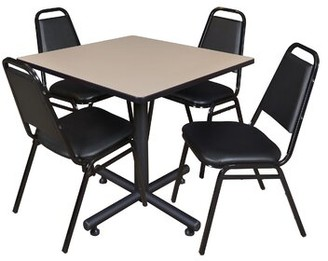 "Symple Stuff Marin Square 5 Piece Breakroom Table and Chair Set Top Finish: Beige Laminate, Size: 29"" H x 42"" L x 42"" W"