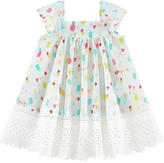 Catimini Printed dress with lace and matching bloomers