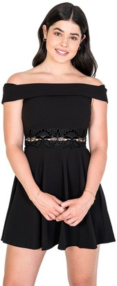 Juniors' B. Smart Fit & Flare Dress with Velvet Lace-Trimmed Waist