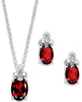 Townsend Victoria Sterling Silver Jewelry Set, Oval-Cut Garnet (3-3/8 ct. t.w.) and Diamond Accent Trio Necklace and Earrings