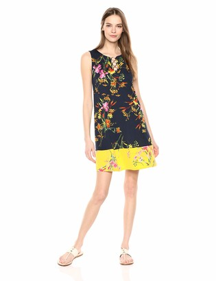 MSK Women's Trapeze Dress with 3-Ring and Floral Boarder Print