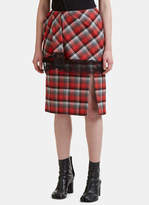 Facetasm Pleated Checked Lace Trim Skirt in Red