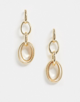 ASOS DESIGN earrings with open circle links in gold tone
