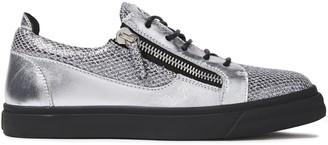 Giuseppe Zanotti London Zip-detailed Glittered Snake-effect And Metallic Leather Sneakers