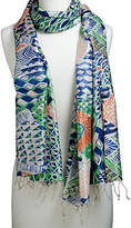 One Kings Lane Screen-Printed Scarf - Emerald/Turquoise