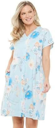 Miss Elaine Petite Essentials Interlock Knit Short Snap Robe