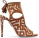 Aquazzura Sexy Thing Cutout Printed Suede Sandals - Tan
