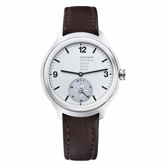 Mondaine Men's Helvetica Stainless Steel Quartz Watch with Leather Strap