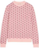 Marni Polka-dot Metallic Stretch-mesh Sweater - Pink
