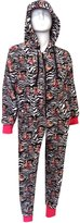 WebUndies.com Betty Boop Black And Zebra Plush One Piece Hoodie Pajama for women