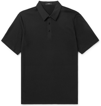 Theory Tech Pima Cotton-Blend Pique And Nylon-Blend Polo Shirt