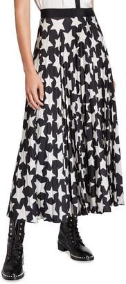 Maison Common Pleated Star-Print A-Line Skirt