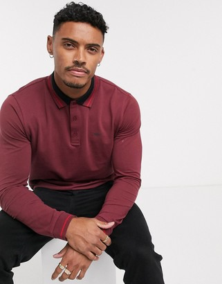 HUGO Donol long sleeve tipped polo in burgundy-Red