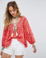 Free People Never A Dull Moment Printed Blouse