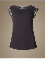 M&S Collection Floral Print Cap Sleeve Pyjama Top