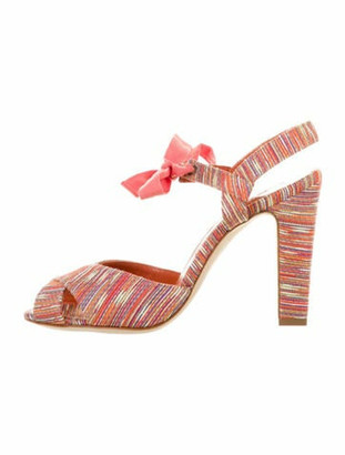 Manolo Blahnik Striped Slingback Sandals Orange