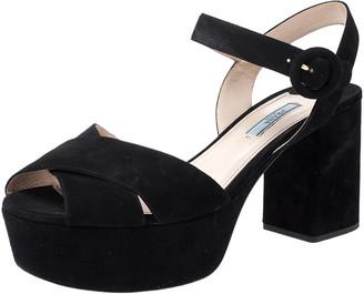 Prada Black Suede Leather Ankle Strap Platform Sandals Size 42