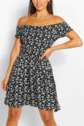 boohoo Daisy Print Off Shoulder Sun Dress