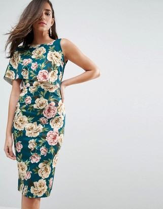 Asos Floral Asymmetric One Shoulder Cape Bodycon Midi Dress