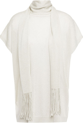 Brunello Cucinelli Scarf-detailed Metallic Stretch-knit Top