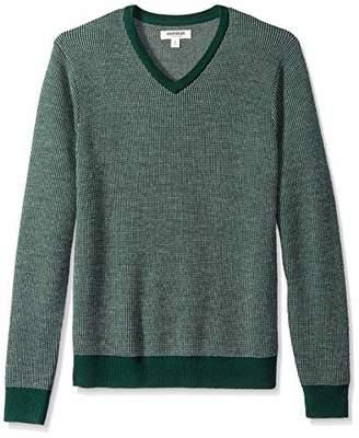 Goodthreads Men's Merino Wool V-neck Birdseye jumper Sweatshirt,X-Small