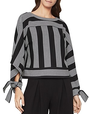 BCBGMAXAZRIA Tie-Sleeve Striped Top