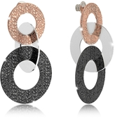 Rebecca R-Zero Black Ruthenium and Rose Gold Over Bronze Stud Drop Earrings